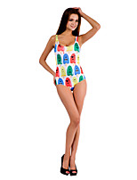 Women's Popsicle Monster Print Halter One-pieces (Nylon/Polyester/Spandex)