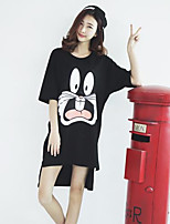 Women's Character Black T-shirt , Round Neck ½ Length Sleeve