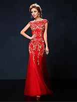 Formal Evening Dress - Ruby Trumpet/Mermaid Jewel Floor-length Tulle/Charmeuse