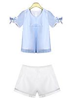 Women's Blue Blouse , Round Neck Short Sleeve