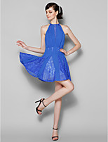 Short/Mini Chiffon / Lace Bridesmaid Dress - Royal Blue Plus Sizes / Petite A-line Jewel