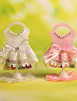 Pink and White Wedding Dress Design Candy Favor Bags Set of 12