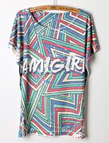 Women's Print/Geometric/Letter Multi-color T-shirt , Round Neck Short Sleeve