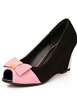 Women's Shoes Wedge Heel/Peep Toe/Bowknot/Split Joint/Sandals Dress Blue/Pink/Beige
