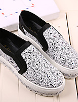 Women's Shoes Faux Leather Flat Heel Platform Flats Outdoor/Casual Black/Silver