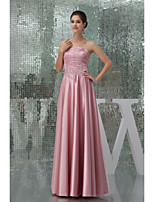 Formal Evening Dress A-line Strapless Floor-length Satin Women Long Prom Dress