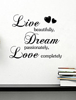 Wall Stickers Wall Decals Style Live Beautiful English Words & Quotes PVC Wall Stickers
