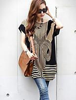 Women's Casual Work Micro Elastic Short Sleeve Long T-shirt (Cotton)