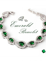 Gorgeous Women's Silver Alloy with Green Crystals Wedding Jewelry Cubic Zirconia Bracelt (with Gift Box)