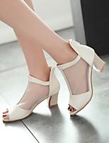 Women's Shoes Tulle Wedge Heel Peep Toe Sandals Office & Career/Dress Blue/Pink/Purple/Beige