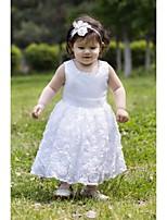 A-Lijn Thee lengte Bloemenmeisje jurk - Satijn Mouwloos