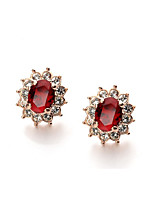 T&C Women's Lovely Red Crystal Sun Flower Stud Earrings 18K Rose Gold Plated Fashion Jewelry