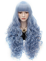 80cm Long Flat Bang Full Sky Blue Curly heat resist Synthetic Cosplay Hair Party Wig