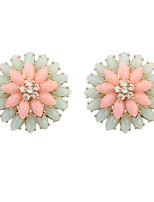 Women's Fashion Cute Flower Resin Stud Earrings With Rhinestone