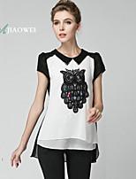 Women's Boho/Patchwork/Color Block Black Blouse , Shirt Collar Short Sleeve