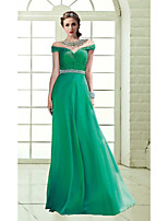 Formal Evening Dress A-line Off-the-shoulder Floor-length Chiffon Dress