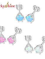 Round Fire Blue Pink White Opal Gem Prong Setting Earring Stud Earrings For Wedding Party Daily 1pair