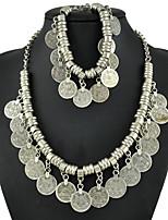 Bohemia National Wind Restoring Ancient Ways Tassel Necklace Bracelet Sets Metal COINS