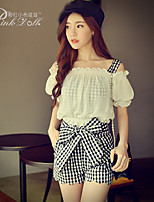 Pink Doll®Women's Bateau Bodycon/Casual Two Piece Check Short Sleeve Suits