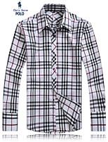 Men's Long Sleeve Shirt , Cotton/Twill Casual/Work/Formal/Plus Sizes Plaids & Checks
