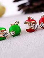 Apple Glaze Asymmetric Retro Stud Earring (Red and Green)