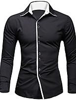 Men's Casual/Work Pure Long Sleeve Regular Shirt