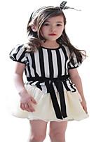 Kids Girls Summer Stripes Short Sleeve Party Mini tutu Dresses (Cotton Blends)