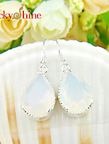 Drop Shaped Fire Multi-Colored Moonstone Gem Prong Setting Earring Drop Earrings For Wedding Party Daily 1pair