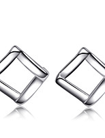 Jazlyn Authentic Platinum Plated 925 Sterling Silver Creative Square Hollow Stud Earrings