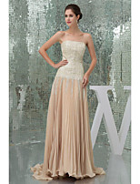 Formal Evening Dress - Champagne Petite A-line Strapless Floor-length Chiffon / Sequined