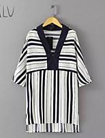 Women's Stripes Print Micro-elastic ¾ Sleeve Long Shirt (Cotton Blends)