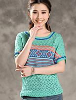Women's Geometric Green T-shirt , Round Neck Short Sleeve Hollow Out