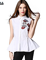 Women's Turn-down Collar Fashion Embroidery Sleeveless Puff Shirt Tops