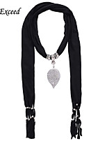 D Exceed  Women Black  Polyester Solid Color Scarves with Alloy Leaf Pendant Tassel Jewelry Scarfs