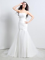Trumpet/Mermaid Sweep/Brush Train Wedding Dress -Strapless Tulle
