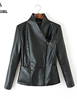 LIVAGIRL®Women's Jacket Fashion Stand Neck PU Leather Coat Europe Style Vintage Cool Locomotive Coat Outwear