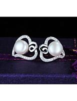 Women's Silver Freshwater Pearl Earrings With Lovely Wedding Hot Heart Diamond Earrings FreeShipping #A019