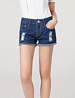 Women's Casual/Bodycon/Lovely Holes Tassel Short Demin Pants (Cotton / Demin)