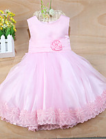 Girl's Cotton Blends Inelastic Medium Sweet Sleeveless Dresses