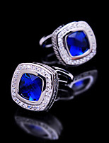 Toonykelly® Fashion Silver Plated Blue CZ Crystal Zircon Men Handsome Shirt Cufflink Button(1 Pair)