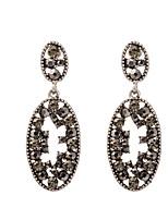 Women's Retro Luxury Oval Hollow Out Zircon Stud Earrings HJ0023