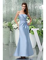 Vestido - Azul de céu claro Festa Formal Sereia Sem Alça Longo Cetim