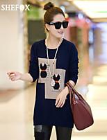 Women's Vintage/Casual/Work Micro-elastic Medium Long Sleeve Pullover (Knitwear) SF7A12