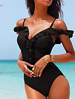 Women's Halter One-pieces , Floral/Ruffle/Bandage Push-up/Wireless/Padded Bras Polyester/Spandex Red/Black