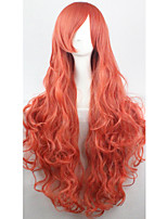 Cos Anime Bright Colored Wigs Orange Red Curly  Hair Wig 80 cm