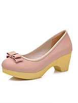 Women's Shoes  Chunky Heel Round Toe Pumps/Heels Outdoor/Office & Career/Casual Pink/Purple/Beige