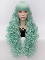 80cm Long Flat Bang Full Light Green Curly heat resist Synthetic Cosplay Hair Party Wig