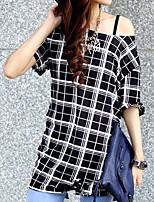 Women's Check Black T-shirt , Round Neck Short Sleeve