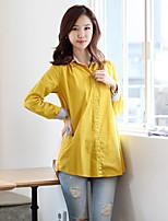 Women's Casual Work Plus Sizes Inelastic Long Sleeve Long Shirt (Cotton)