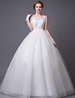 Vestido de Boda - Blanco Corte Princesa Hasta el Suelo - Sobre el Hombro Encaje